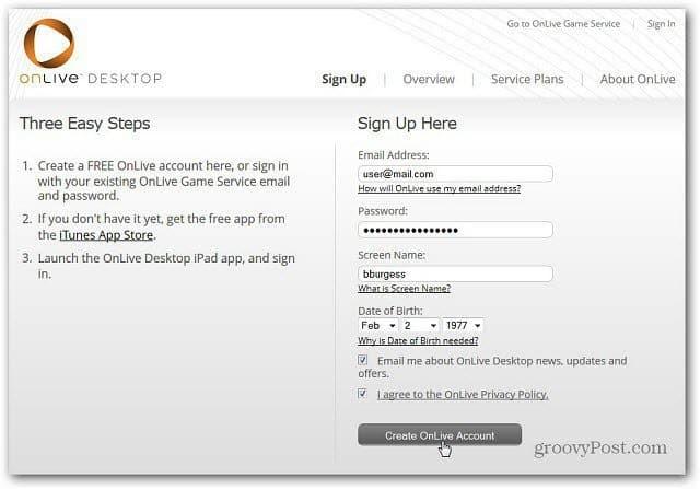 OnLive Desktop Signup
