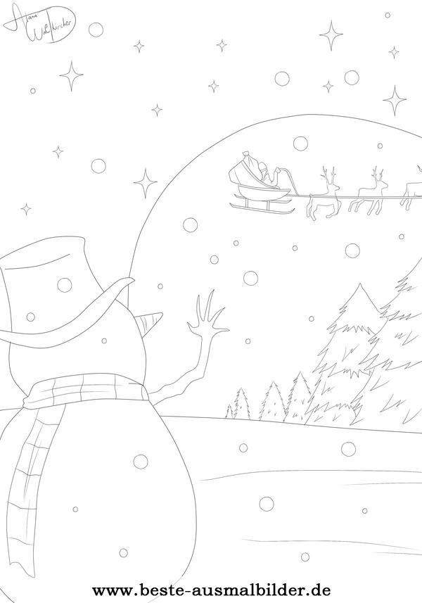 ausmalbilder weihnachtsmann mit rentierschlitten
