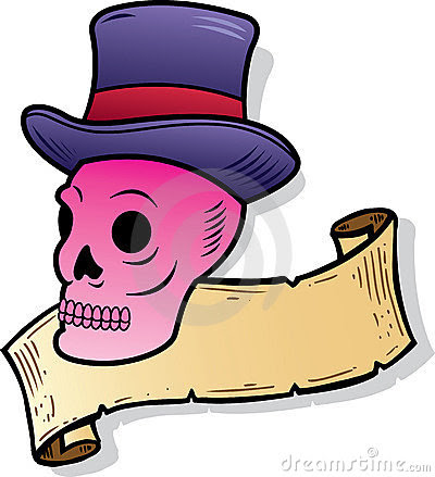 SKULL WEARING A TOP HAT TATTOO STYLE