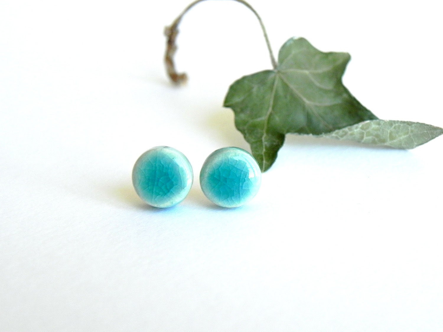 Stud Earrings Geometric Pottery Round Ceramic Post Everyday Jewelry - LemoneRouge