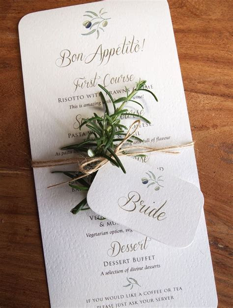 calligraphy menus for rustic, outdoor or quirky weddings