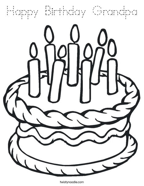 Happy Birthday Grandpa Coloring Page - Tracing - Twisty Noodle