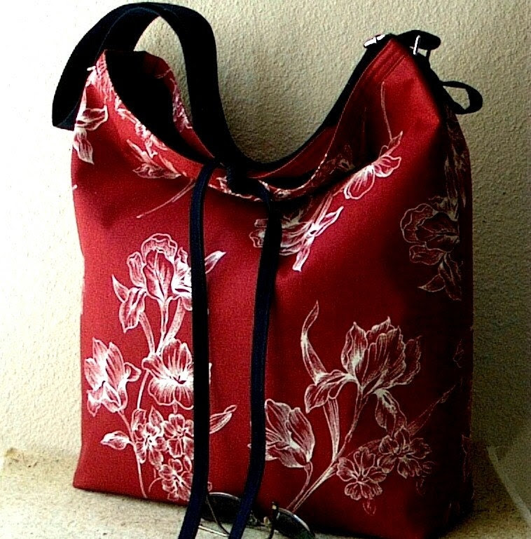 LARGE Slouch Bag - Red - White and Blue -The Perfect Multipurpose Bag-