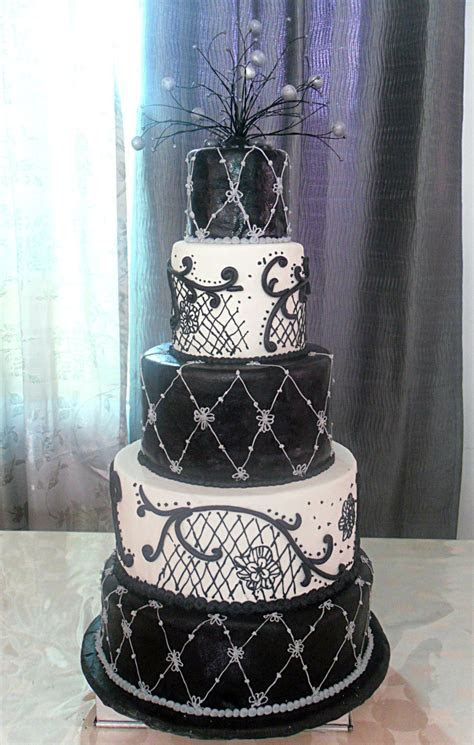 Debut Cake, Black and White Cake, 5 tier cake   Pieces of