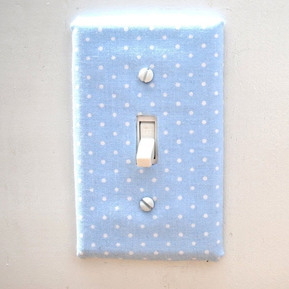 Light Switch Plate Cover - light blue with white polka-dots, simple, polka dots, baby, nursery, tranquil