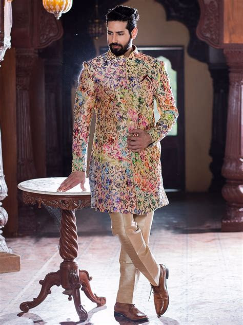 Cream Silk Wedding Wear Indo Western   sherwani & kurta