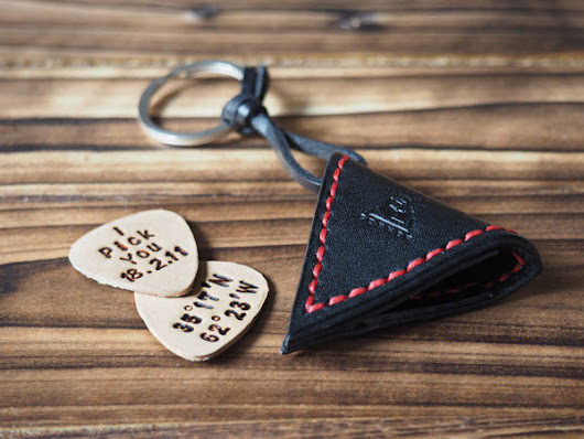 Leather Guitar Pick Case Keychain #Black with Red thread | ES Corner