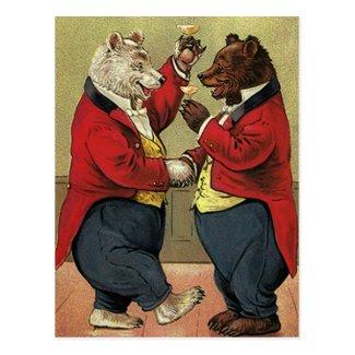 Vintage Victorian Happy, Gay, Dancing Bears Post Card
