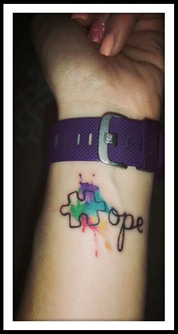 Watercolor Tattoo Autism Awareness Puzzle Piece Watercolor Tattoo
