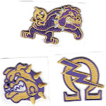 """Omega Psi Phi 3-Pack B Embroidered Stick-On Applique Patches [Gold - 2""""]"""