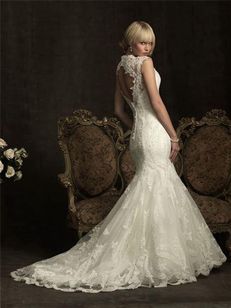 Slim Mermaid Cap Sleeve V Neck Lace Wedding Dress Keyhole