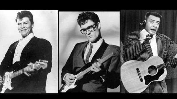 From left, American rock and roll legends Ritchie Valens, 17, Buddy Holly, 22, and J.P. 'Big Bopper' Richardson, 28, who died in a small-plane crash near Clear Lake, Iowa, in 1959. The National Transportation Safety Board said it was reviewing a petition Wednesday to reopen the investigation into the crash.