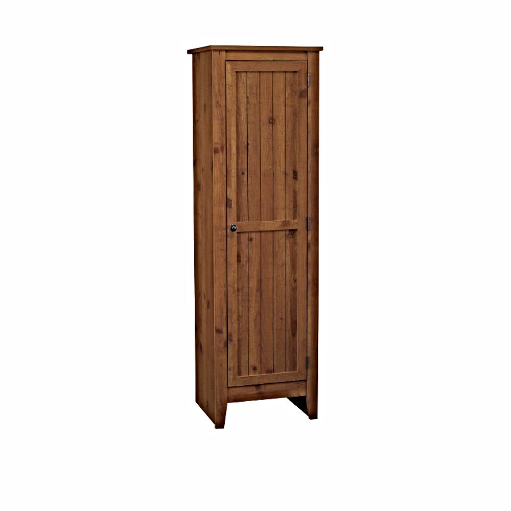 Adeptus Solid Wood Single Door Pantry Cabinet, Pecan ...