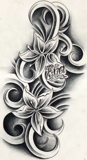 Grey Flowers And Gemini Tattoo Design
