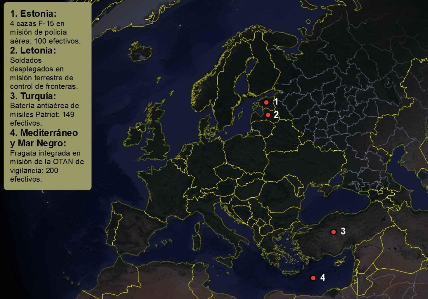 Mapa del despliegue de las tropas españolas que controlan los movimientos de Rusia.
