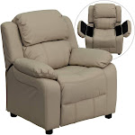 Flash Furniture Deluxe Padded Contemporary Kids Recliner with Storage Arms - Beige Vinyl
