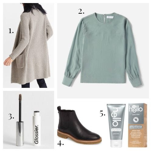 Madewell Sweater - Everlane Blouse - Glossier Boy Brow - Botkier Boots - Hello Toothpaste