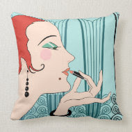 EVE, Art Deco Lady in Aqua and Teal Throw Pillows