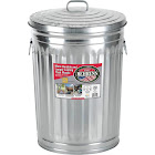 Behrens 1211 20 gal Galvanized Steel Trash Can with Lid, Silver