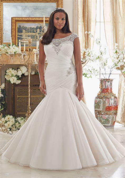 Dazzling Beaded Embroidery on Tulle Plus Size Wedding