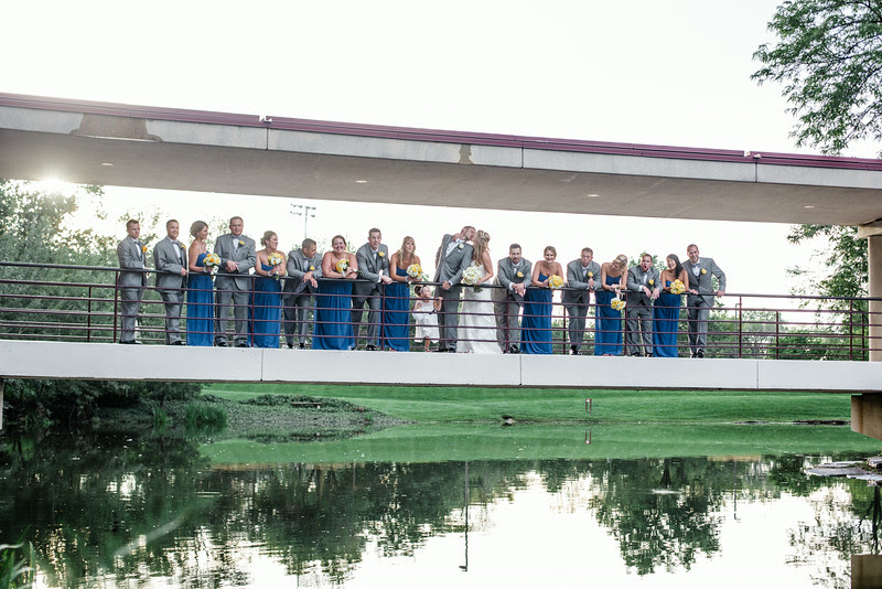 Wedding party at The Hyatt Lodge at McDonald's Campus, Oak Brook Illinois, Grand Oaks Pavillion Wedding. By Mindy Joy Photography