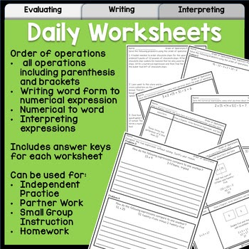 Interpreting Expressions Worksheet Answer Key