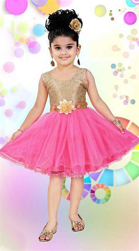 Pink Kids Designer Short Frock With Floral Sash DT12048