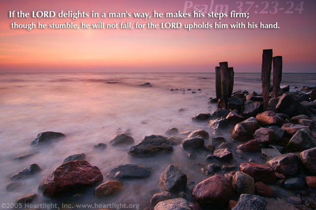 Inspirational illustration of Psalm 37:23-24