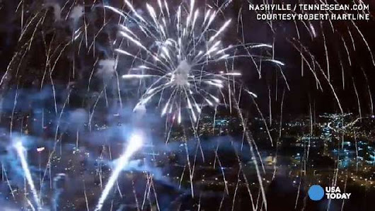 Watch drone fly into fireworks