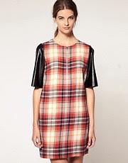 Karen Walker Tartan Shift Dress with Zip Front and Vinyl Sleeve