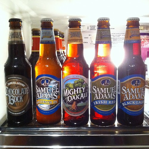 Sam Adams: Chocolate Bock, Whitewater IPA, Mighty Oak Ale, Irish Red, Black Lager by stevegarfield