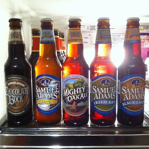 Sam Adams: Chocolate Bock, Whitewater IPA, Mighty Oak Ale, Irish Red, Black Lager by stevegarfield