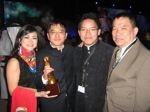 """With Haolun Shu (""""Young Blood"""") and wife, best AsiaAfrica Short Film winner, Dubai Film Fest 2008 Closing Ceremony"""