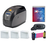 Zebra ZXP Series 1 Single Sided ID Card Printer & Complete Supplies Package with Bodno Gold Edition ID Software