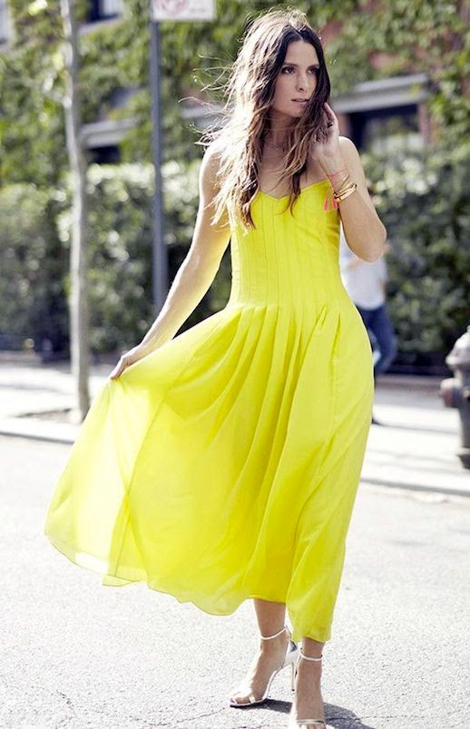 Le Fashion Blog Must Have Bright Yellow Pleated Maxi Dress Spring And Summer Style Silver Heeled Sandals Via BR