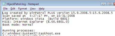 WinPatrol Hijack log