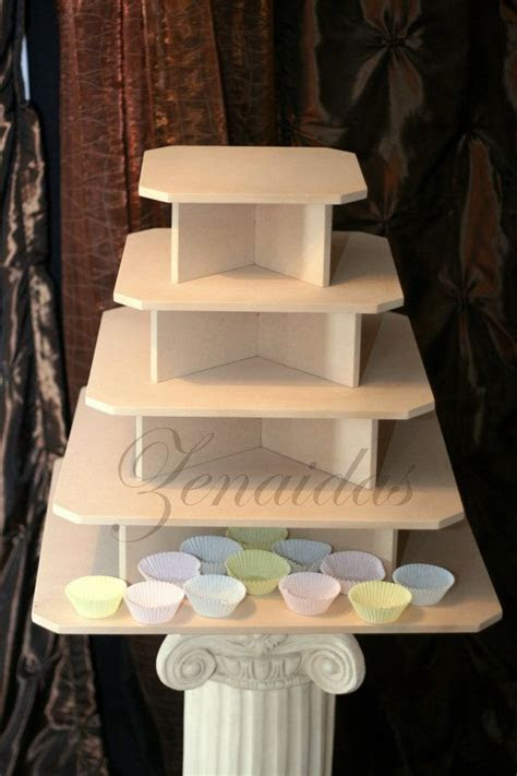 Cupcake Stand 5 Tier Xtra Large Square MDF Wood Threaded