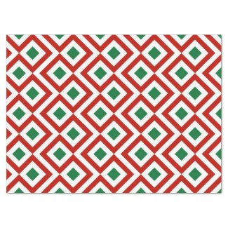 "Red, White, Green Meander Tissue Paper 17"" X 23"" Tissue Paper"