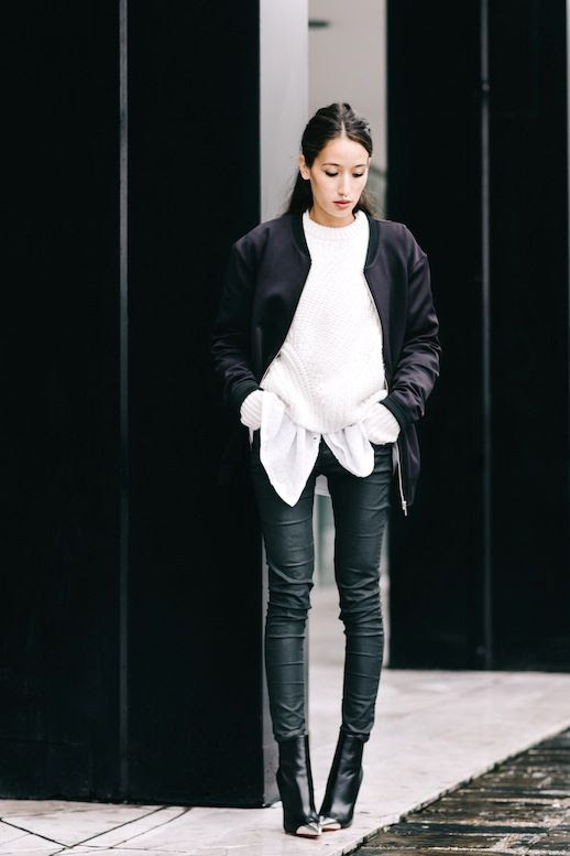 Le Fashion Blog Fall Blogger Style Layered Look Black Bomber Jacket Chunky White Sweater Over A Button Down Shirt Leather Leggings Silver Cap Toe Ankle Boots Via Alex's Closet
