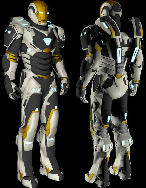 Another illustration of the Deep Space Armor from IRON MAN 3.