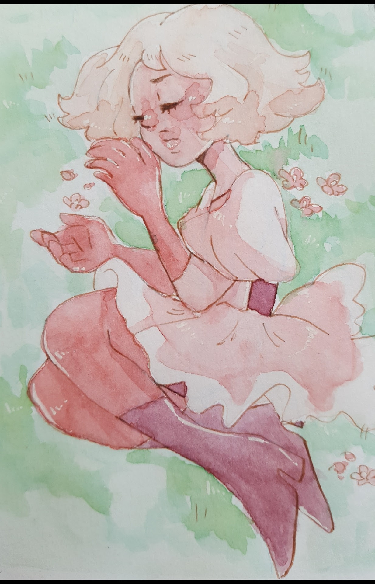 Pink Diamond is so squishable!!! I might most more watercolor soon! ((Does anyone want to see more sketches and doodles?))
