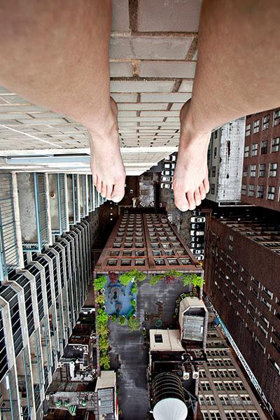 Ahn Jun self-portraits: A self portrait of Jun Ahn Dangling over the edge
