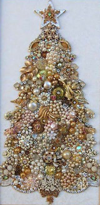How to make a Christmas tree out of jewelry? - Learning to do everything yourself ~ Can see this done as embroidery/beading too