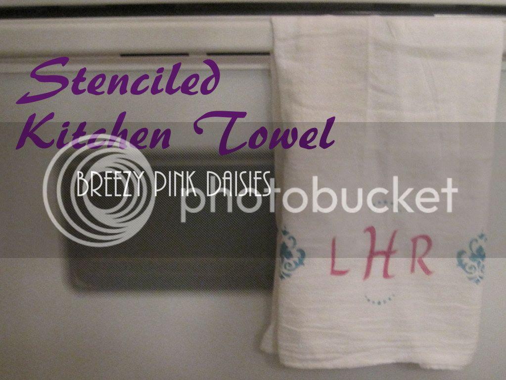 DIY Stenciled Kitchen Towel - great wedding gift {Breezy Pink Daisies}