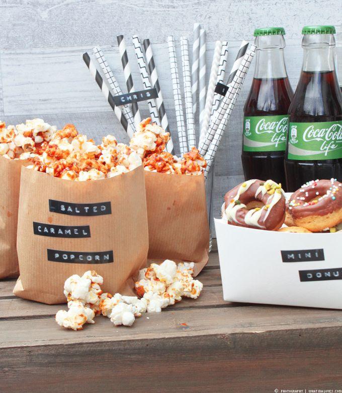 popcorn, cola life, mini donuts