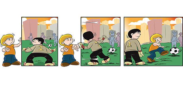 Os quadrinhos desenhados por Flavio Soares, intitulados 'A vida com Logan