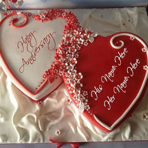 Write your name on anniversary red color heart shape cake