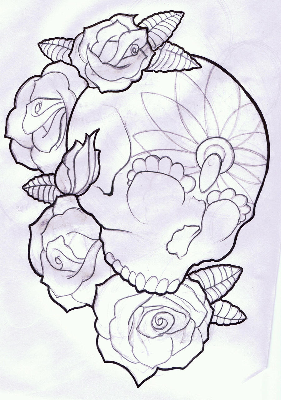 Traditional Rose And Skull Tattoo Outline Traffic Club