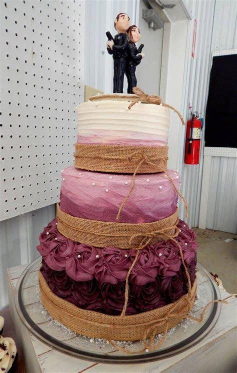 Burgundy Ombre Rustic Wedding Cake   CakeCentral.com