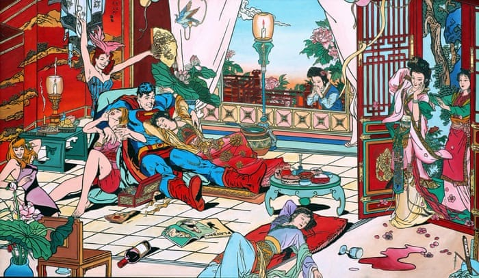 Images: Artist Jacky Tsai Thrusts Western Comic Heroes Into Traditional Chinese Paintings